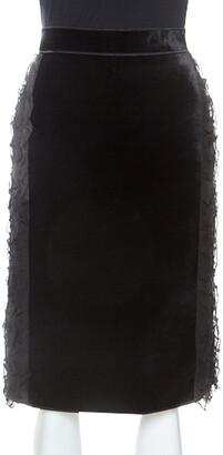 N°21 N21 Black Velvet Ruffle Trim Sheath Skirt S