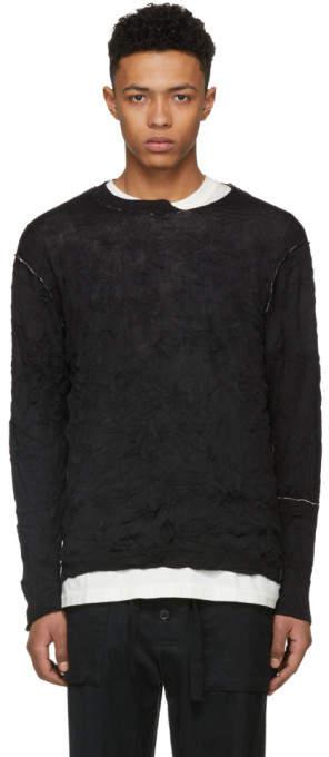 Yohji Yamamoto Black Destroyed Wrinkled Pullover