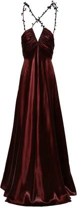 Roberto Cavalli Open-back Sequin-embellished Ruched Satin Gown