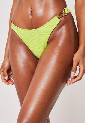 Missguided Lime Crinkle Chain Detail High Leg Boomerang Bikini Bottoms