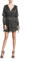 MISA Los Angeles Maeryn Metallic Long-Sleeve Short Dress