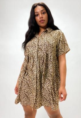 Missguided Plus Size Stone Leopard Print Shirt Smock Dress