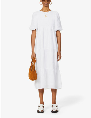 Faithfull The Brand Alberte puffed-sleeve linen midi dress