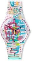 Swatch Quartz Plastic and Silicone Casual WatchMulti Color (Model: SUOZ196)