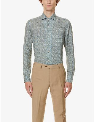 Corneliani Floral print linen shirt