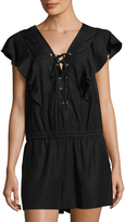 BCBGMAXAZRIA Women's Lace Up Romper