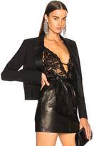 Saint Laurent Rose Lace Stretch Bodysuit in Black.