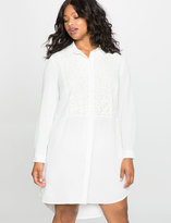 ELOQUII Plus Size Lace Inset Shirtdress