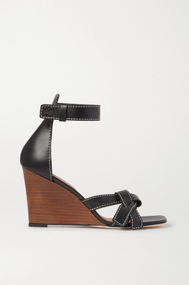 Loewe Gate Topstitched Leather Wedge Sandals - Black