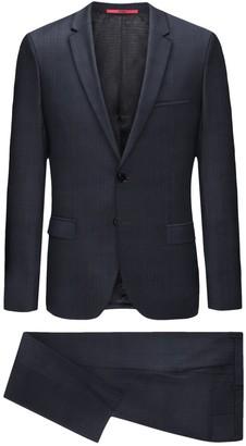 BOSS Blue Sharkskin Two Button Notch Lapel Wool Suit