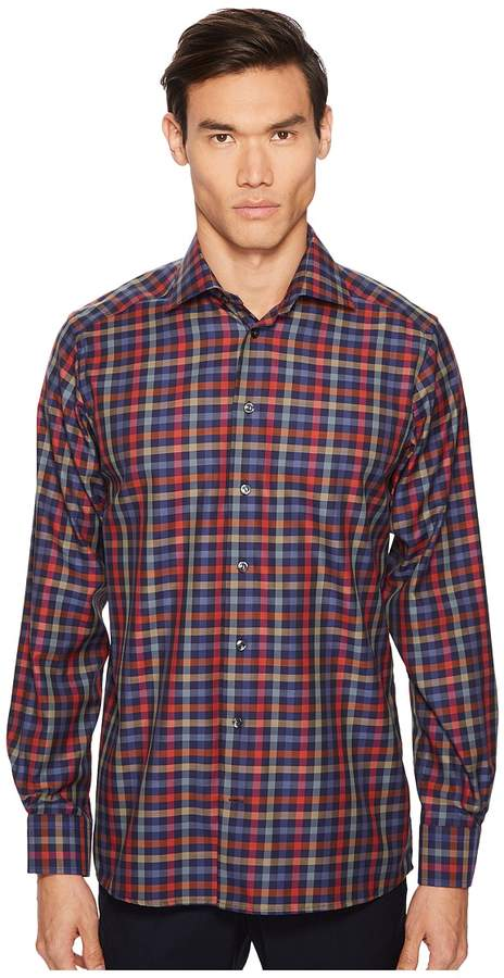 Eton Contemporary Fit Multi Plaid Shirt Men's Clothing