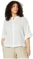 Eileen Fisher Plus Size Organic Cotton Lofty Gauze Mandarin Collar Shirt (White) Women's Clothing