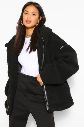 boohoo Faux Leather Trim Belted Teddy Faux Fur Coat