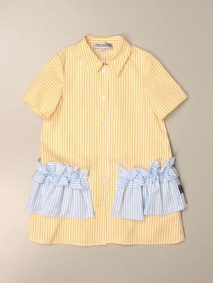 Simonetta Striped Shirt Dress With Ruffle Pockets