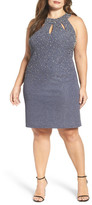 Eliza J Embellished Keyhole Neck Textured Sheath Dress (Plus Size)