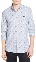 Lacoste Men's L!ve Dot Print Stripe Woven Shirt