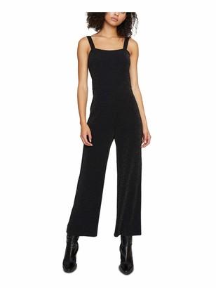 Sanctuary Womens Black Glitter Sleeveless Square Neck Wide Leg Jumpsuit Size: M