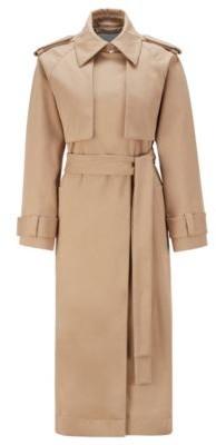 HUGO BOSS Relaxed Fit Trench Coat In Stretch Cotton Twill - Beige