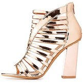 Charlotte Russe Metallic Caged Block Heel Sandals