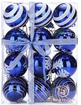 "Sea Team 60mm/2.36"" Delicate Painting & Glittering Shatterproof Christmas Balls Decorative Hanging Christmas Ornaments Baubles Set for Xmas Tree - 24 Counts (Blue)"