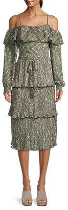 Allison New York Printed Tiered Pleated Dress