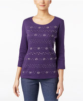 Karen Scott Studded Three-Quarter-Sleeve Top, Only at Macy's