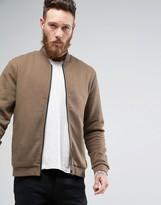 New Look New Look Jersey Bomber Jacket In Khaki