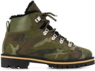 Yves Salomon Camouflage Print Boots