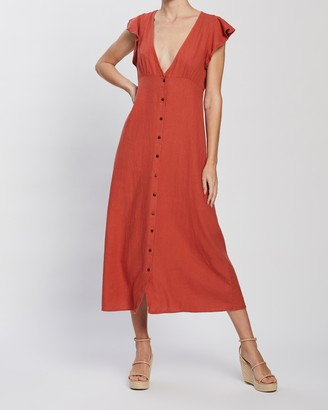 Only Becca Button Woven Midi Dress