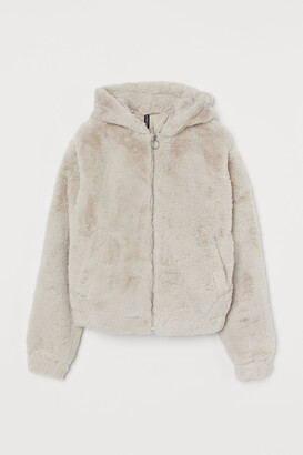 H&M Hooded faux fur jacket