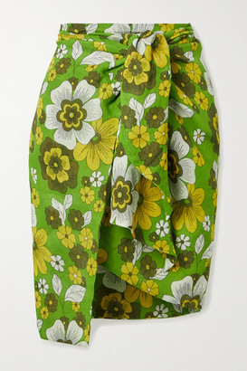 Dodo Bar Or Mosa Floral-print Tie-front Cotton-voile Mini Skirt - Green