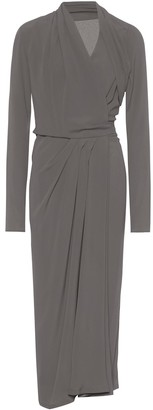Rick Owens Silk-blend crepe wrap dress