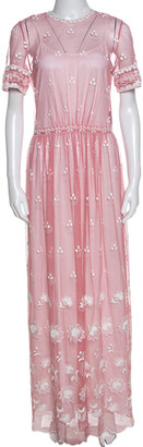 Burberry Rose Pink Embroidered Tulle Short Sleeve Dress S