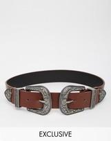 Reclaimed Vintage Western Double Buckle Belt
