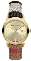 Burberry 38mm Golden Stainless Steel Watch w/Check Canvas Strap