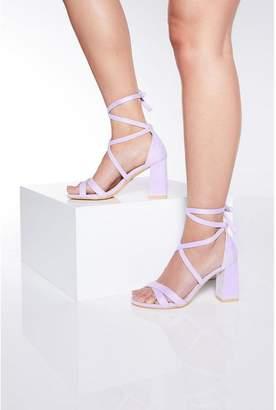 Quiz Lilac Tie Up Block Heel Sandals