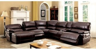 "Alcott Hill Newmont 134.25"" Symmetrical Reclining Sectional Fabric: Brown Faux Leather"