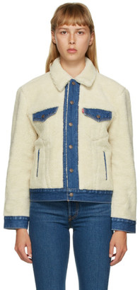 Levi's Levis Off-White and Blue Sherpa Ex-Boyfriend Trucker Jacket