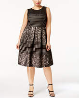 Sangria Plus Size Illusion Sequined Striped Fit and Flare Dress