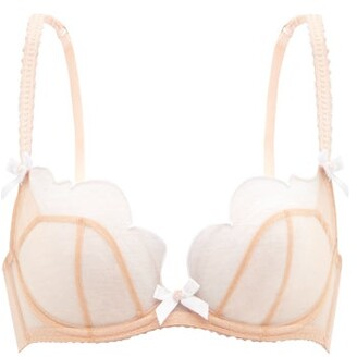 Agent Provocateur - Lorna Scallop-embroidered Mesh Underwired Bra - Nude