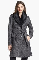 Ivanka Trump Belted Tweed Coat with Detachable Faux Fur Collar