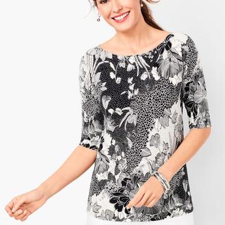 Talbots Dolman-Sleeve Bateau-Neck Sweater - Floral
