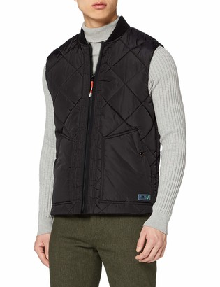 Scotch & Soda Men's Quilted Bodywarmer with Bomber Collar Outdoor Gilet