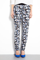 Paul Smith Black Folded Floral Print Silk Trouser