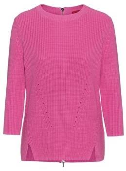 HUGO BOSS Cotton crew-neck sweater with rear zip