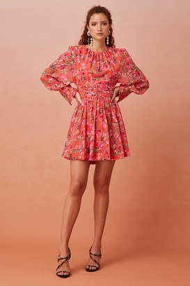 Keepsake NOMINAL LONG SLEEVE MINI DRESS Tangerine Floral