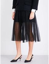 Rochas Knife pleated high-rise silk-georgette midi skirt