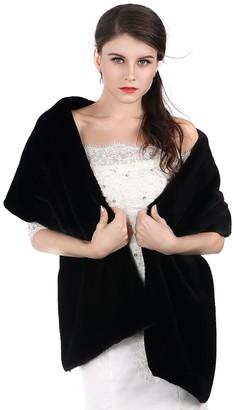 Aukmla Women's Wedding Fur Shawls and Wraps Bridal Fur Stole and Scarves (Black)