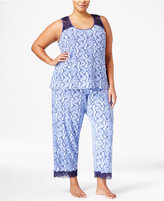 Thalia Sodi Plus Size Lace-Trimmed Peekaboo-Back Printed Pajama Set, Only at Macy's