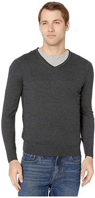 John Varvatos Arlington Long Sleeve Melange V-Neck with Roll Neck and Revers Y2013V4B (Charcoal Heather) Men's Clothing